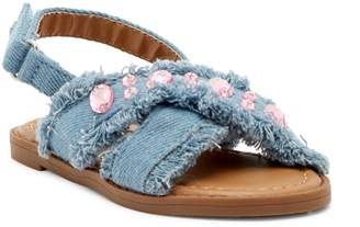 Nicole Miller Denim Embellished Sandal (Toddler)