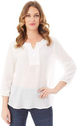 Apt. 9 Petite Embroidered Peasant Top