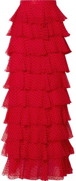 Rodarte - Tiered Polka-dot Flocked Silk-chiffon Maxi Skirt