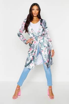 boohoo Satin Longline Belted Tropical Kimono