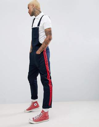 Asos Design DESIGN Slim Dungarees In Navy With Red Side Stripes