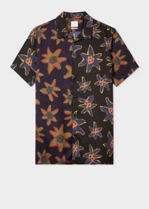 Paul Smith Men's Classic-Fit Black 'Torn Floral' Print Short-Sleeve Shirt