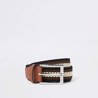 River Island Brown stripe woven buckle belt