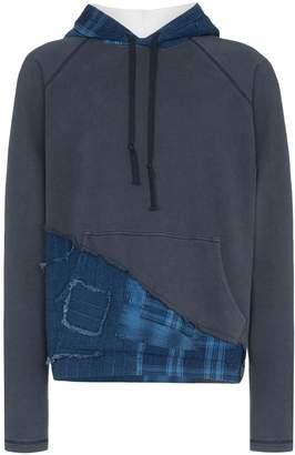 Greg Lauren Contrast hood distressed checked jumper