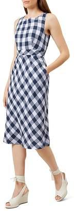 HOBBS LONDON Myra Gingham-Print Linen Dress $270 thestylecure.com