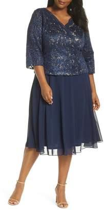 Alex Evenings Embellished Tea Length Dress