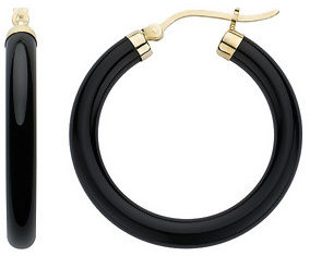 14K Yellow Gold Onyx Hoop Earrings