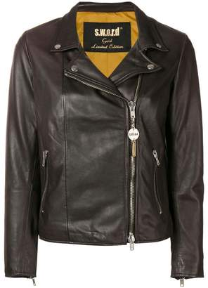 S.W.O.R.D 6.6.44 zip-up biker jacket