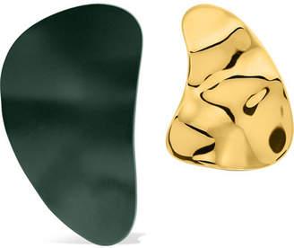 Monica Sordo Nausheen Shah x Clausina Coated Gold-plated Earrings - Dark green