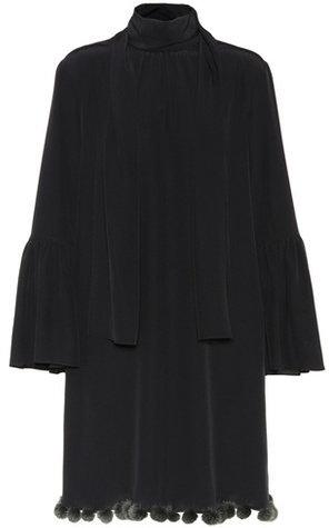 Fendi Fur-trimmed silk dress
