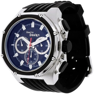 Steel By Design Stainless Steel Round Dial Multifunction Stra pWatch