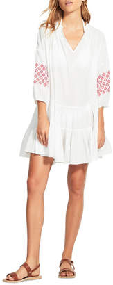 Seafolly Beach Edit Embroidery Sleeve Tiered Dress