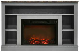 Cambridge Silversmiths 47 Electric Fireplace, 1500W Charred Log Insert and A/V Storage Mantel
