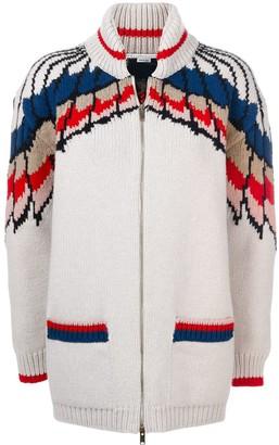 Stella McCartney Feather Print zipper cardigan