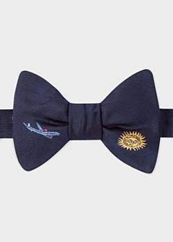 Paul Smith Men's Navy Embroidered 'Sky' Motif Self-Tie Silk Bow Tie