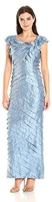 London Times Women's Cap Sleeve Gown Dress w. Broach Detail and Portrait Collar