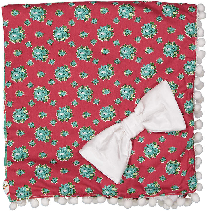 27'' x 31'' Red & Green Floral Receiving Blanket