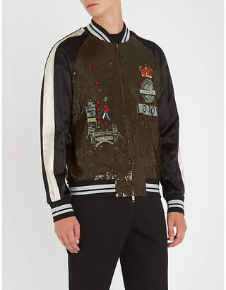 Valentino Sequin-embellished satin bomber jacket