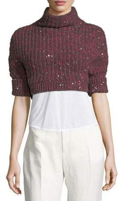 Brunello Cucinelli Cashmere-Silk Paillette Cropped Sweater