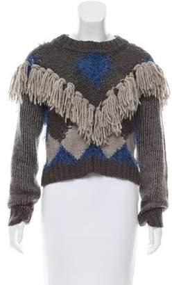 For Love & Lemons Fringe-Trimmed Knit Sweater