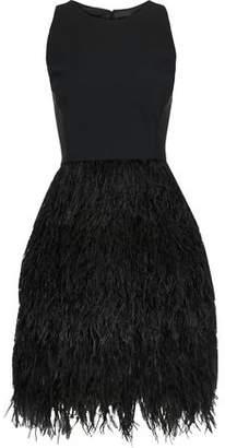 Milly Blair Feather-paneled Cady Mini Dress