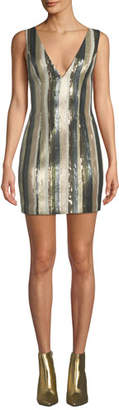 Misha Lillian Petite Sequin Stripe Mini Dress