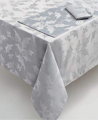 "Elrene Metallic Holly 60"" x 120"" Tablecloth"