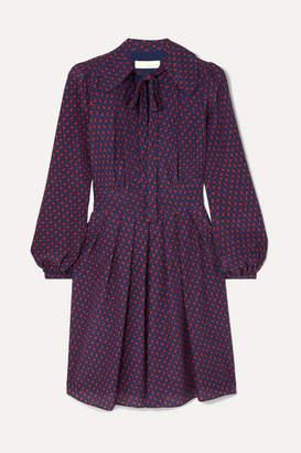 MICHAEL Michael Kors Pussy-bow Printed Silk Crepe De Chine Mini Dress - Navy