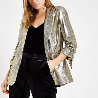 River Island Gold metallic ruched sleeve blazer