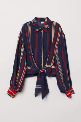 H&M Blouse with Tie Detail - Blue