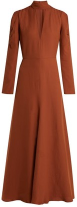 Chloé V Neck Silk Blend Crepe Dress - Womens - Brown