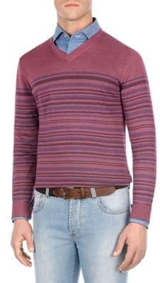 Isaia Vintage Striped V-Neck Sweater
