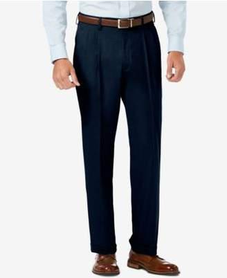 Haggar J.M. Men's Classic-Fit Stretch Sharkskin Pleated Dress Pants