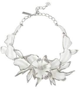 Oscar de la Renta Orchid Enamel Necklace