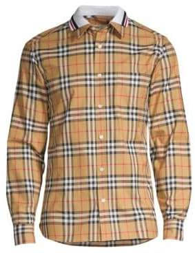 Burberry Men's Check Polo-Collar Cotton Shirt - Antique Yellow - Size XL