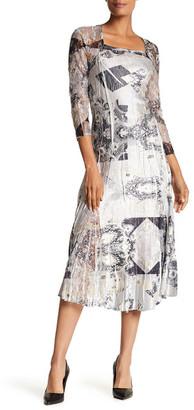 KOMAROV Square Neck 3/4 Length Sleeve Flared Dress $272 thestylecure.com