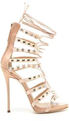 Giuseppe Zanotti Kara Crystal and Stud Cage-Heel Sandal