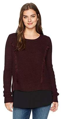 Foxcroft Women's Long Sleeve Mixed Fabric Pullover Sweater