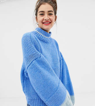 Oneon OneOn hand knitted colourblock jumper with balloon sleeve