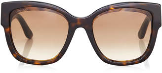 Jimmy Choo ROXIE Dark Havana Oversized Sunglasses with Star Detailing