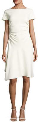 Halston Short-Sleeve Boat-Neck Dress w/ Waist Gathers