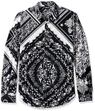 Just Cavalli Men's Patch Bandana Print Shirt