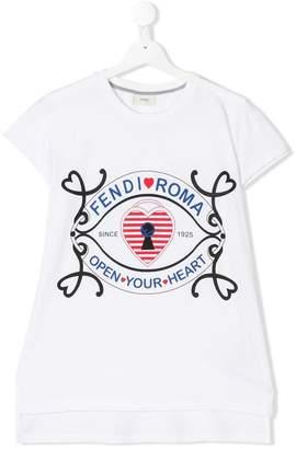 Fendi TEEN open your heart print T-shirt
