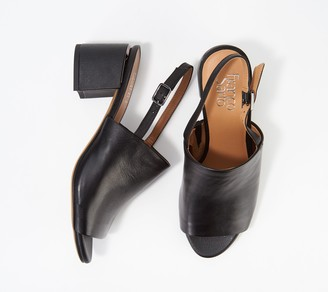 Franco Sarto Leather Mules with Ankle Strap- Marielle