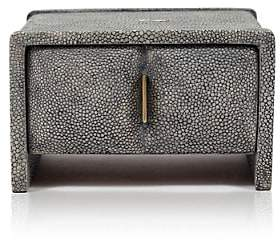 R & Y Augousti Bumps Small Jewelry Box-Gray Shagreen