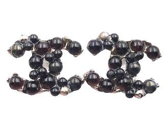 Chanel Black Metal Earrings