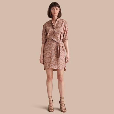 Burberry Burberry Tie-waist Floral Print Cotton Shirt Dress