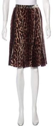 Blumarine Velvet-Trimmed Printed Skirt
