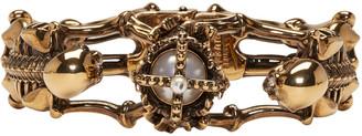 Alexander McQueen Gold Two Skeletons Bracelet $595 thestylecure.com