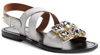 Marni Jeweled Calf Hair Flat Sandal (Women)